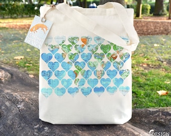 Vintage Map Hearts Tote Bag, Ethically Produced Reusable Shopper Bag, Cotton Tote, Shopping Bag, Eco Tote Bag, Stocking Filler, Map Art