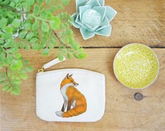 Fox Coin Purse, Change Purse, Coin Pouch, Zip Pouch, Canvas Purse, Organic Purse, Small Zipper Pouch, Fox Gift