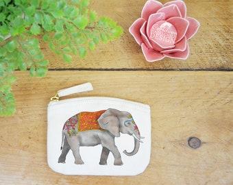 Elephant Coin Purse, Change Purse, Coin Pouch, Zip Pouch, Canvas Purse, Organic Purse, Small Zipper Pouch, Elephant Gift