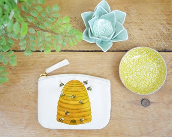 Bee Hive Coin Purse, Change Purse, Coin Pouch, Zip Pouch, Canvas Purse, Organic Purse, Small Zipper Pouch, Bee Gift