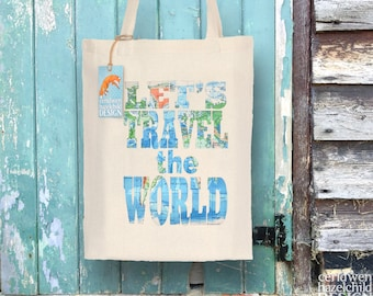 World map tote bag etsy lets travel the world map tote bag reusable shopper bag cotton tote ethically gumiabroncs Images