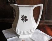 48 oz Ironstone Pitcher Wm. Adams Sons Tea Leaf Copper Pattern Water Milk English Micratex Jug Serving Farmhouse Table Cottage Decor Vase
