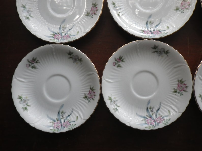 6 Saucers  Small Plates GAYETY Pattern by Victorian China Made in Occupied Japan Vintage Gift Floral Flowers Gold Trim Serving Side Plate