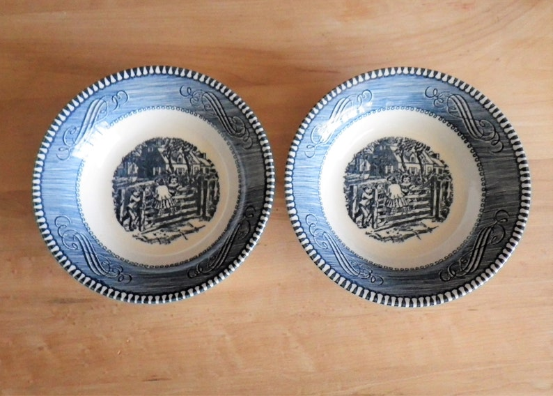 Set of 3 Fruit Dessert Bowls Old Farm Gate by Currier and Ives Blue by Royal USA 5 58 in Scrolls Edge Center Scene Holiday Table Meal Three