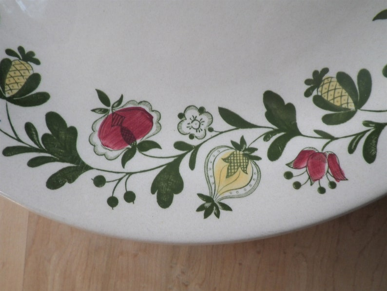 Set of 4 Dinner Plates Gretchen Green by Johnson Brothers Made in England 1970/'s Staffordshire Old Granite Table Ware Dish English Kitchen