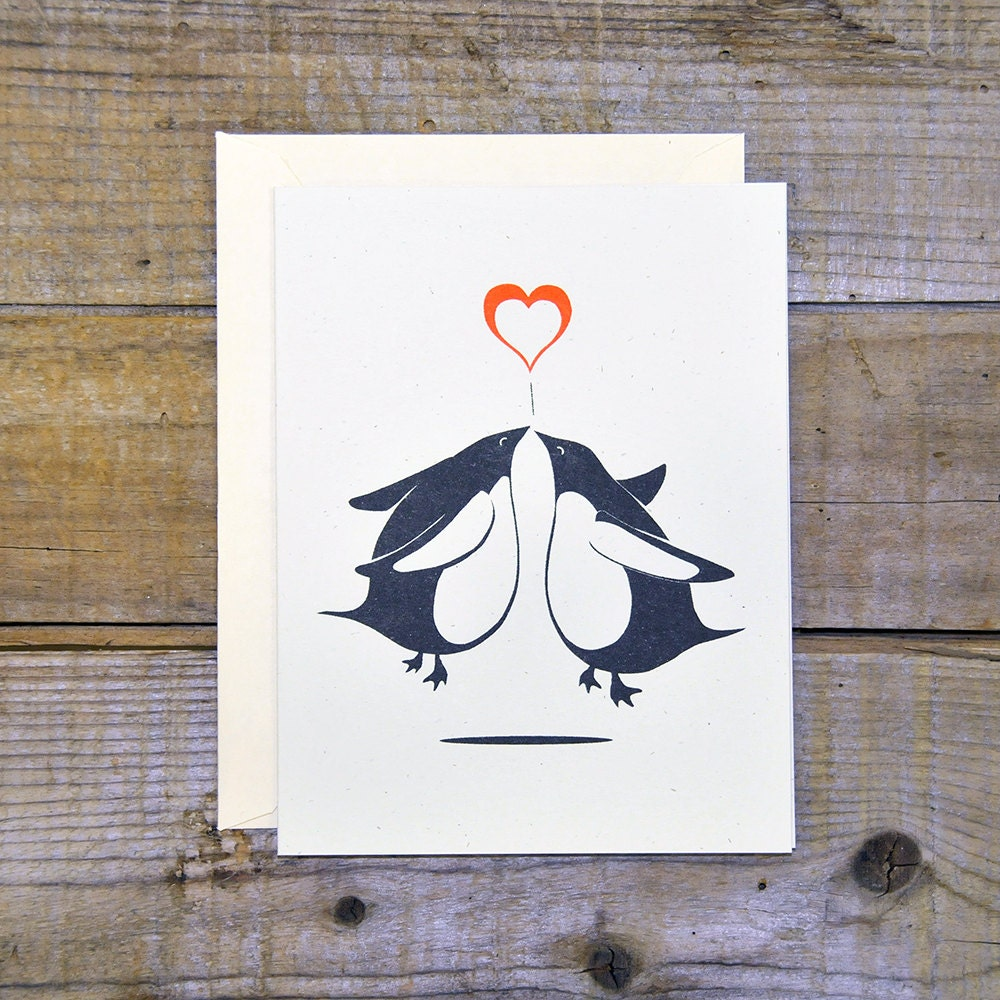 C 0703 Penguin Kiss Card Etsy