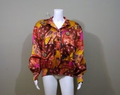 ESCADA 100 Silk Bomber Jacket German Size 38 US Size 10 12 14