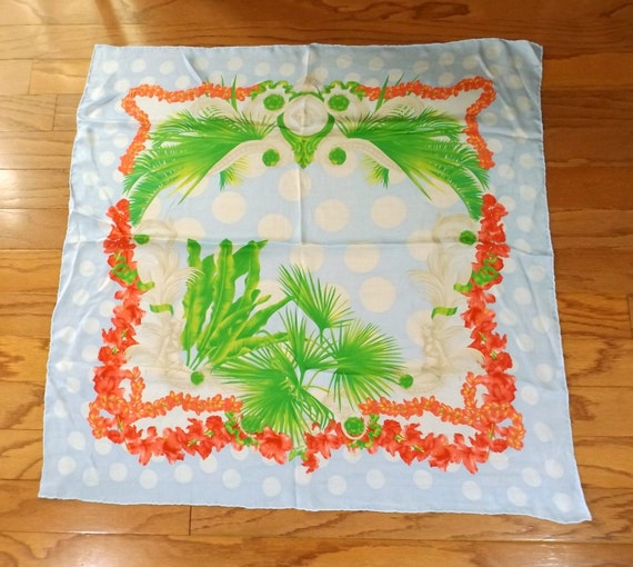VERSACE Tropical Print Silk Scarf
