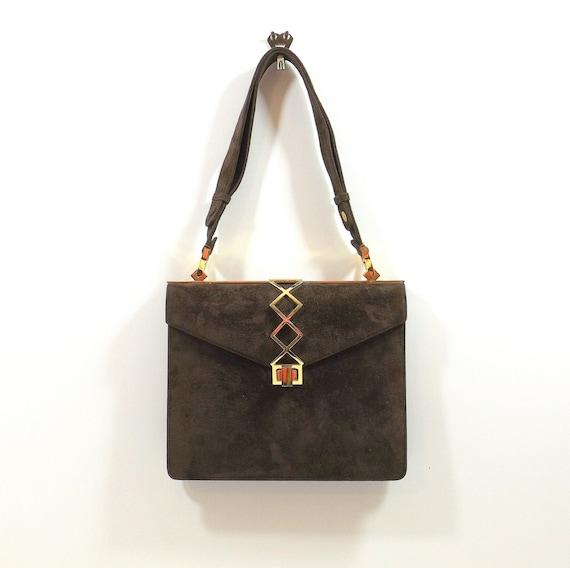 NETTIE ROSENSTEIN Brown Suede Shoulder Bag