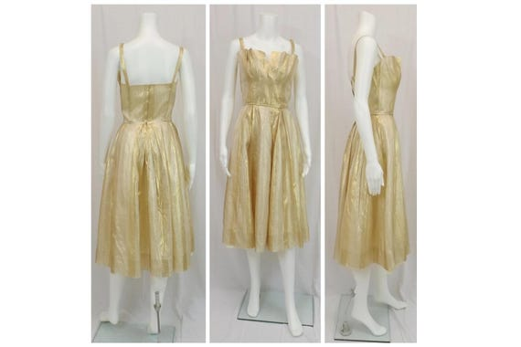 BEAUMELLE Gold Lame Party Dress Size XS 2 4