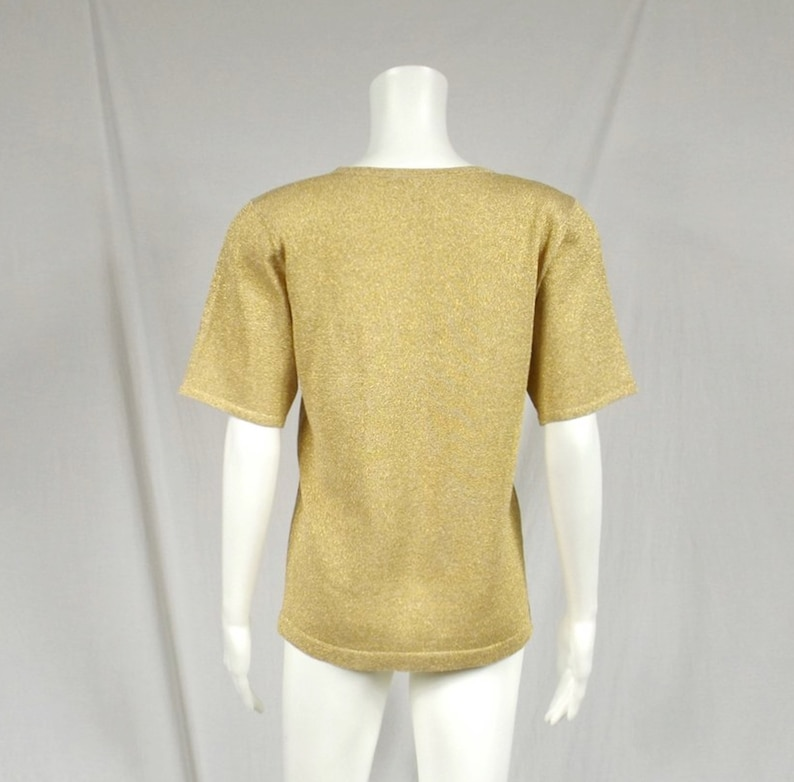 CLAUDIA D Gold Lame Sweater US Size Small S
