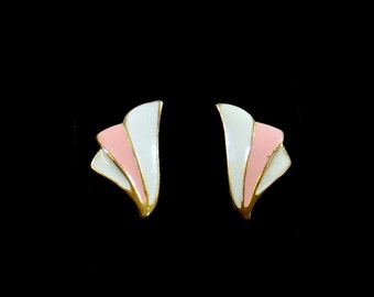 Pink and White Enamel Post Earrings