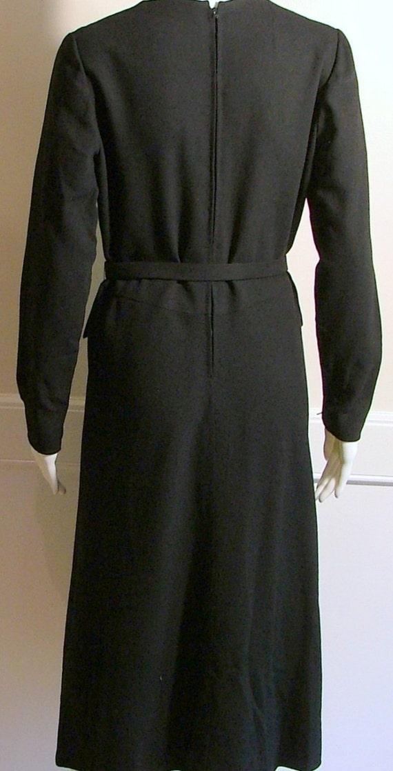 PAULINE TRIGERE Black Wool Crepe Dress Size 10 - image 3