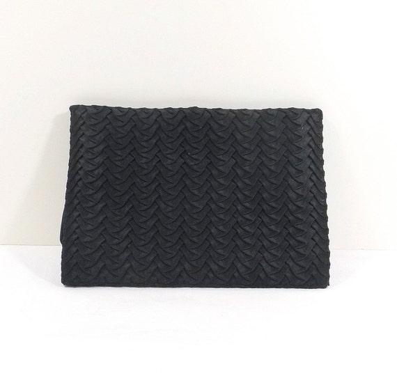 NETTIE ROSENSTEIN Black Pleated Silk Clutch
