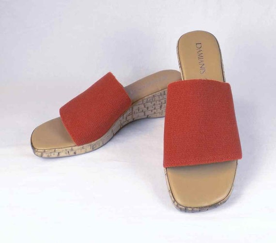 6aefd655f2 DAMIANI'S Red Wedge Slide Sandal US Size 6.5M 6-1/2M   Etsy