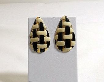 Black and White Enamel Post Earrings