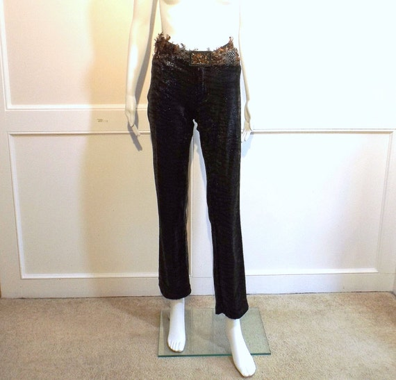 BETSEY JOHNSON Snake and Feather Pants with Belt 3