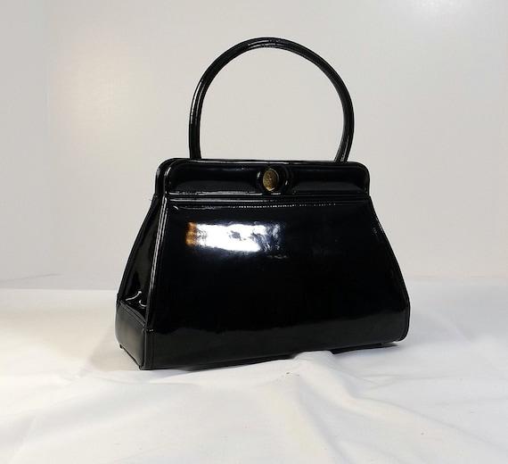 NETTIE ROSENSTEIN Black Patent Leather Handbag