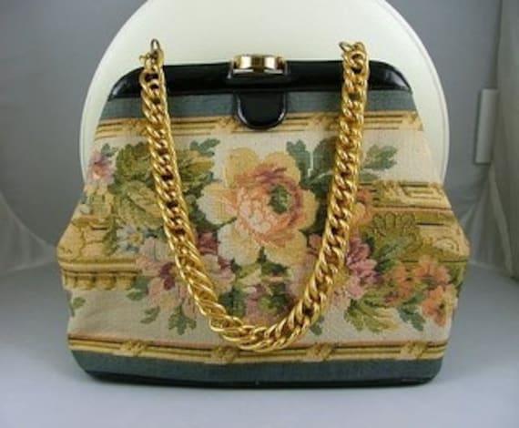 NETTIE ROSENSTEIN Designer Handbag Needlepoint Vin