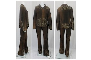 Brown Leather Pant Suit Euro Size 44 US Size 12