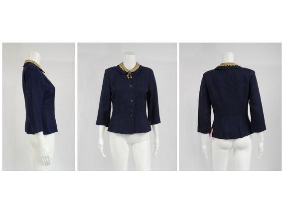 Custom 1940's Blue Linen Jacket Fancy Collar Size