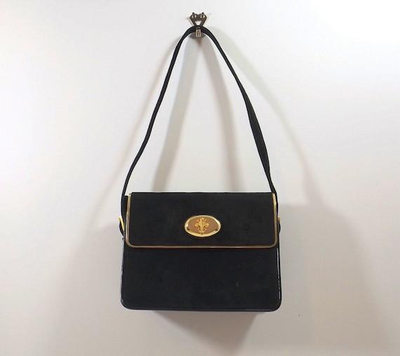 NETTIE ROSENSTEIN Black Suede Shoulder Bag