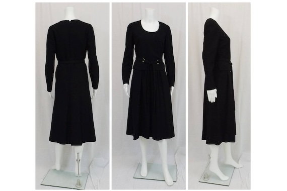 PAULINE TRIGERE Black Wool Crepe Dress Size 10 - image 1
