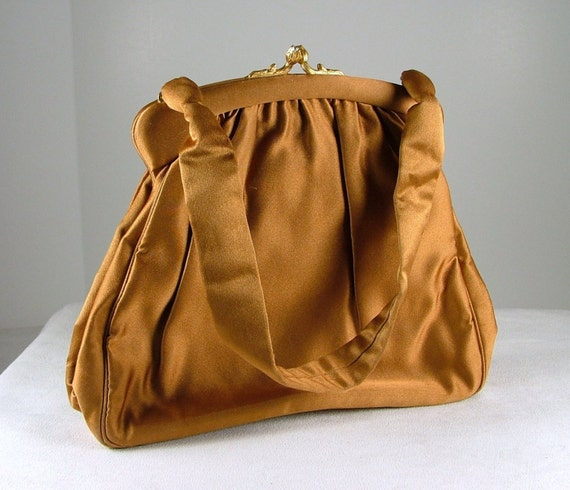 NETTIE ROSENSTEIN Copper Colored Silk Evening Bag