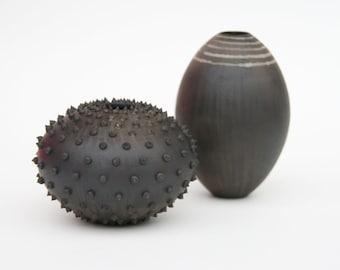 Tall Striped Ceramic Pot - Sawdust Fired