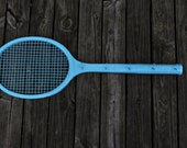 Vintage / Retro Wooden Tennis Racket Jewelry Storage / Holder / Wall Decor - Up cycled Painted Turquoise / Aqua