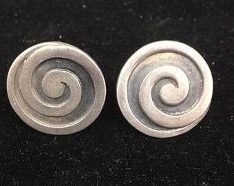 Stunning Vintage Los Castillo Sterling Silver Spiral Earrings