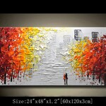 contemporary wall art,Palette Knife Painting, Colourful tree Painting,wall decor  Home Decor,Acrylic Textured Painting ON Canvas by Chen KK2