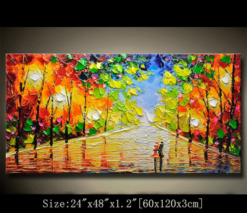 contemporary wall artPalette Knife Paintingcolorful Park image 0
