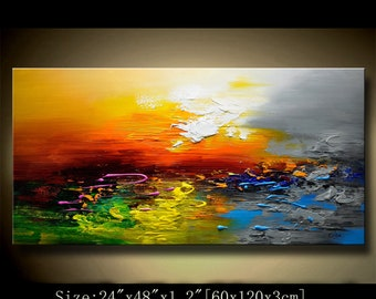 Abstract Wall Painting, expressionism Textured Painting,Impasto Landscape Painting  ,Palette Knife Painting on Canvas by Chen new82
