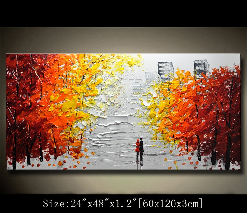 contemporary wall artPalette Knife Painting Colourful tree image 0