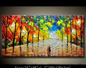 contemporary wall art,Palette Knife Painting,colorful Park painting,wall decor Home Decor,Acrylic Textured Painting ON Canvas by Chen new w2