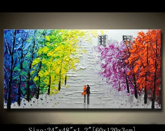 contemporary wall art,Palette Knife Painting,colorful Landscape painting,wall decor,Home Decor,Acrylic Textured Painting ON Canvas Chen WWw9