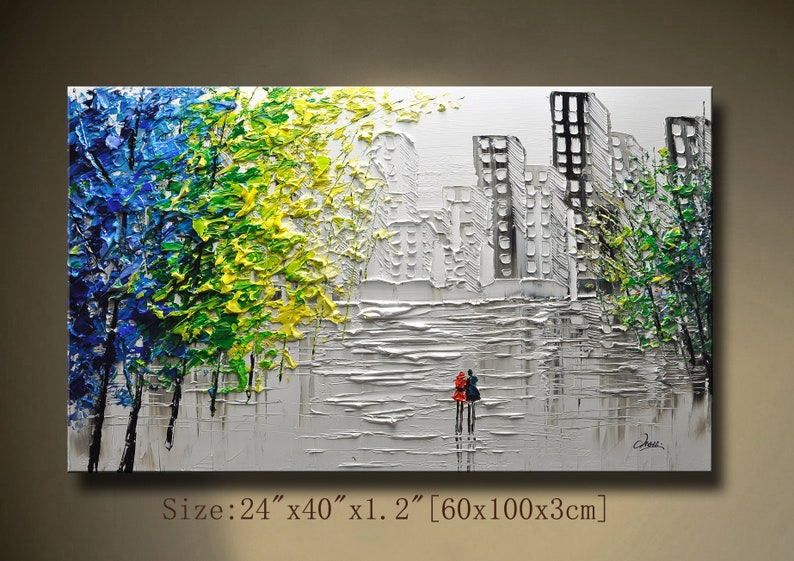 A New Type Of Abstract Wall Painting Contemporary Wall Art Impasto Cityscape Landscape Painting Palette Knife Painting On Canvas By Chen 912