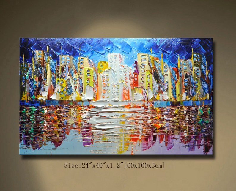 contemporary wall artPalette Knife Paintingcolorful image 0