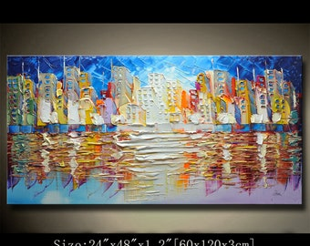 contemporary wall art,Palette Knife Painting,colorful painting,wall decor Home Decor,Acrylic Textured Painting ON Canvas by Chen newAAAAA