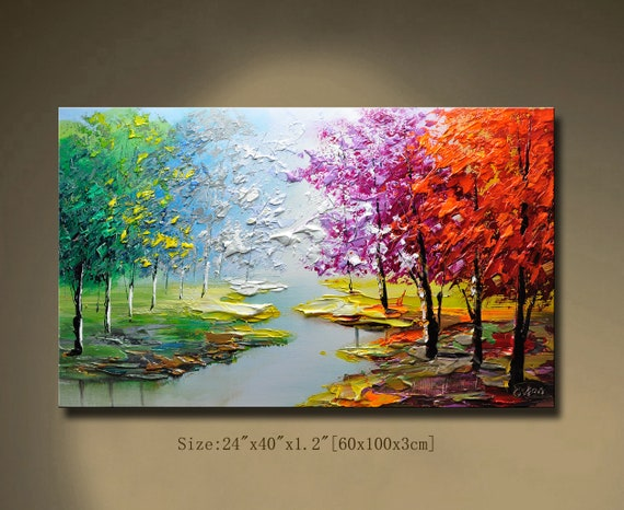 fall wall deor.htm contemporary wall artpalette knife painting colourful tree etsy  contemporary wall artpalette knife