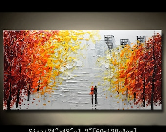 contemporary wall art,Palette Knife Painting,colorful Landscape painting,wall decor,Home Decor,Acrylic Textured Painting ON Canvas Chen AAA8