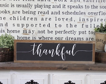 Bon Thankful Sign, Wood Sign, Farmhouse Sign, Over The Door Sign, Rustic Decor,  Home Decor, Inspirational Sign