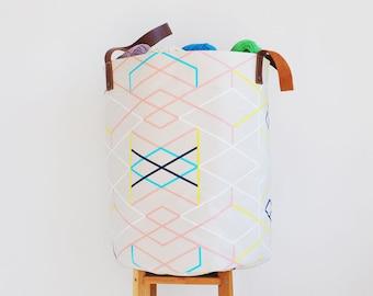 Geometric Laundry Hamper, Large Fabric Basket, Toy Storage, Minimalist Nursery Decor, Scandinavian Design