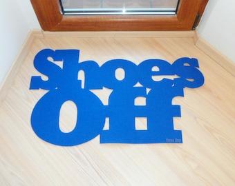 Shoes Off welcome mat. Elegant front door mat. Thin doormat