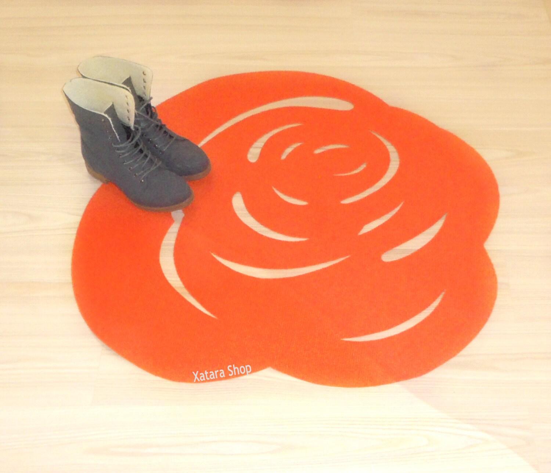 Minimalist Colorful Rug Designs: Modern Rose Rug. Flower Floor Mat. Minimalist Design
