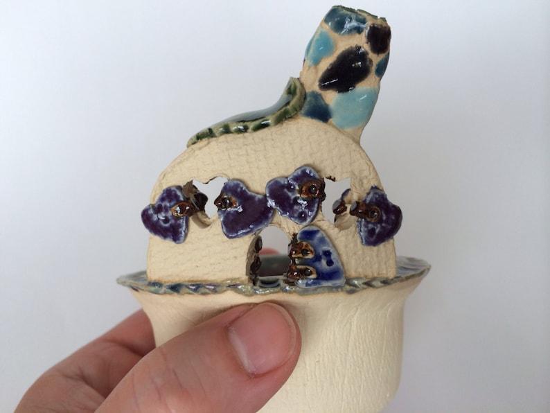 Fairy House Trinket or Condiment Bowl Purple-Green