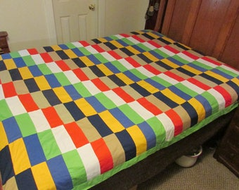 Vintage Quilt top bright and colorful
