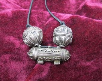 Yemen Silver Beads and Prayer Bead