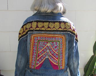 Upcycled Embellished Blue Jean Jacket